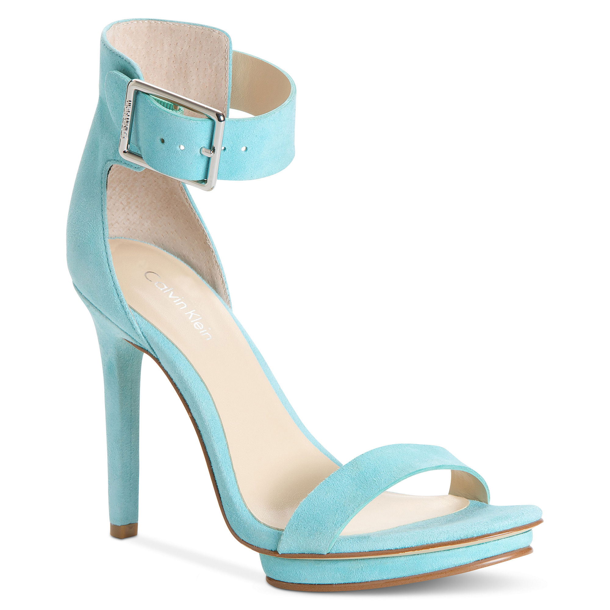 calvin klein high heel sandals in blue black croco