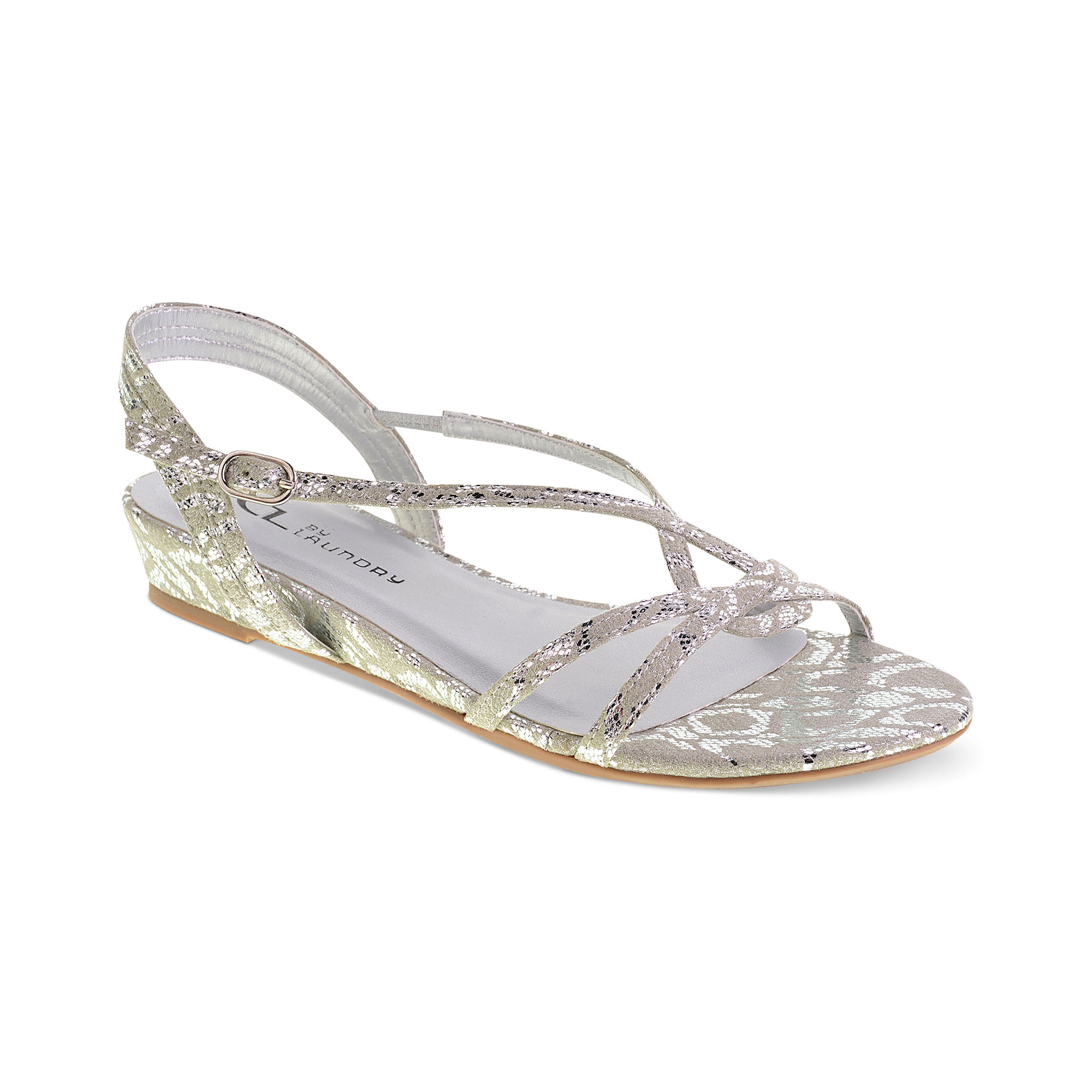 Metallic Leather Flat Shoes