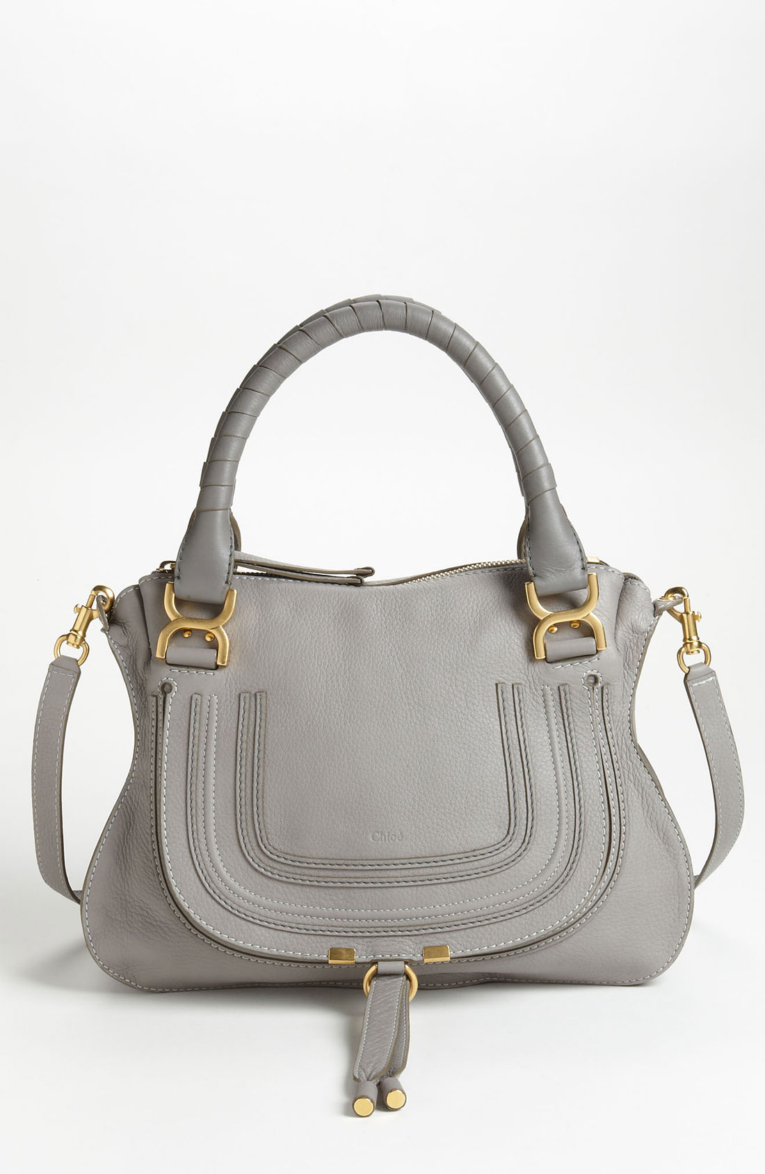 chlo 39 marcie small 39 leather satchel in gray lyst. Black Bedroom Furniture Sets. Home Design Ideas