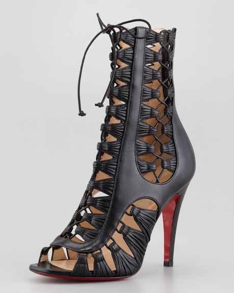 Christian Louboutin Azimut Caged Leather Bootie Black in Black