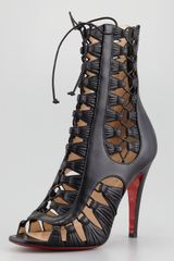 Christian Louboutin Azimut Caged Leather Bootie Black in Black - Lyst