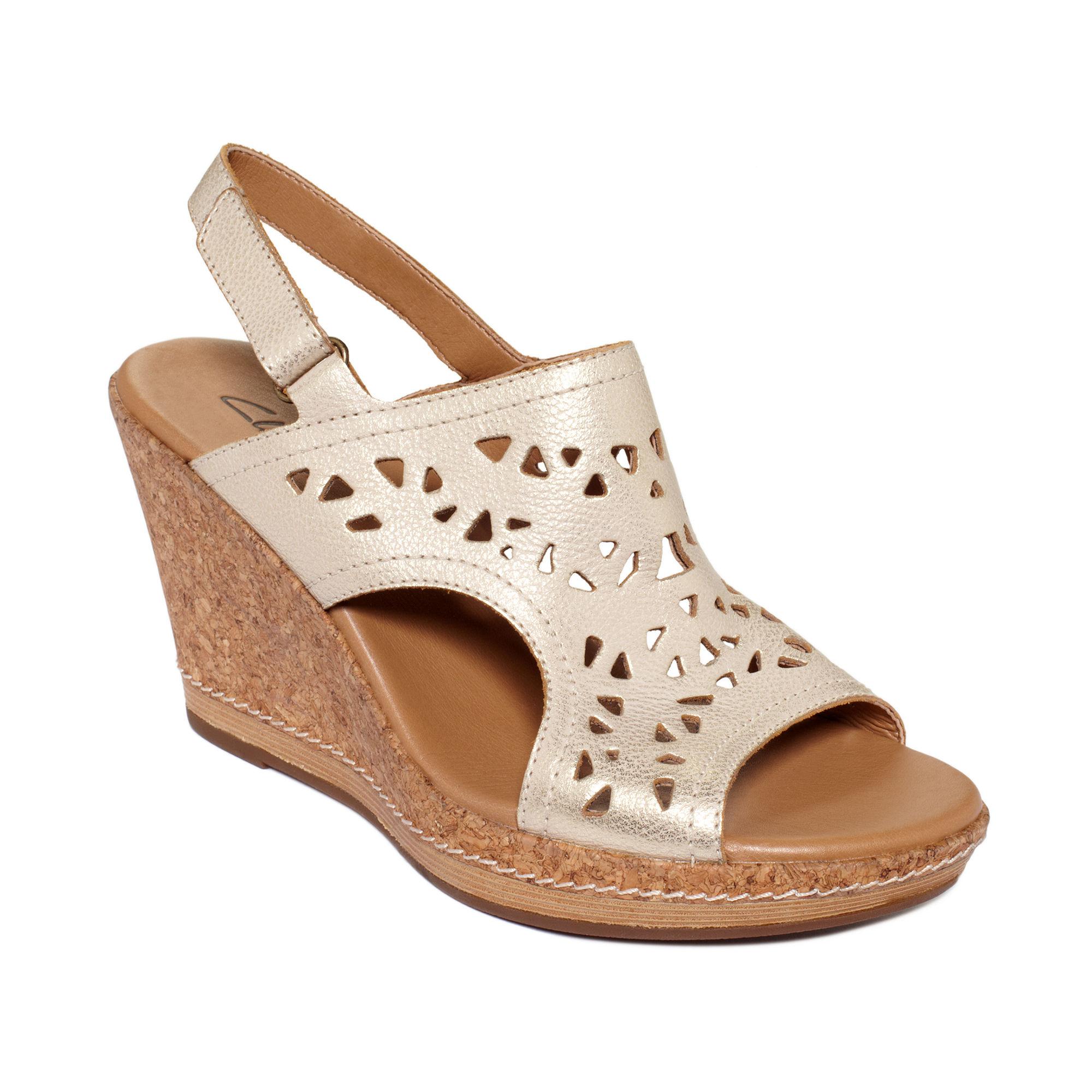 clarks pitch mint platform wedge sandals in lyst