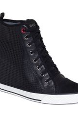 DKNY Grommet Wedge Sneakers - Lyst