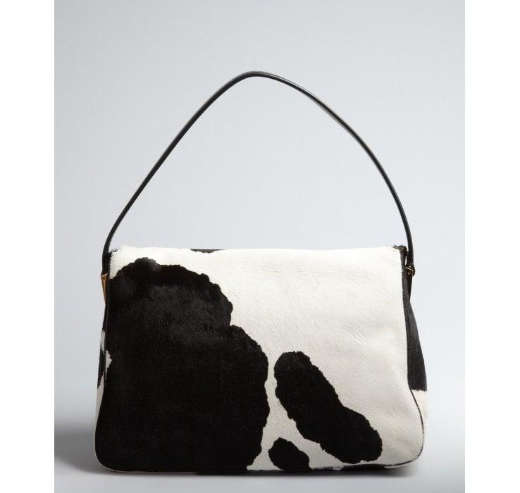 Lyst Fendi Black And White Cow Print Calf Hair Mamma Shoulder Bag In