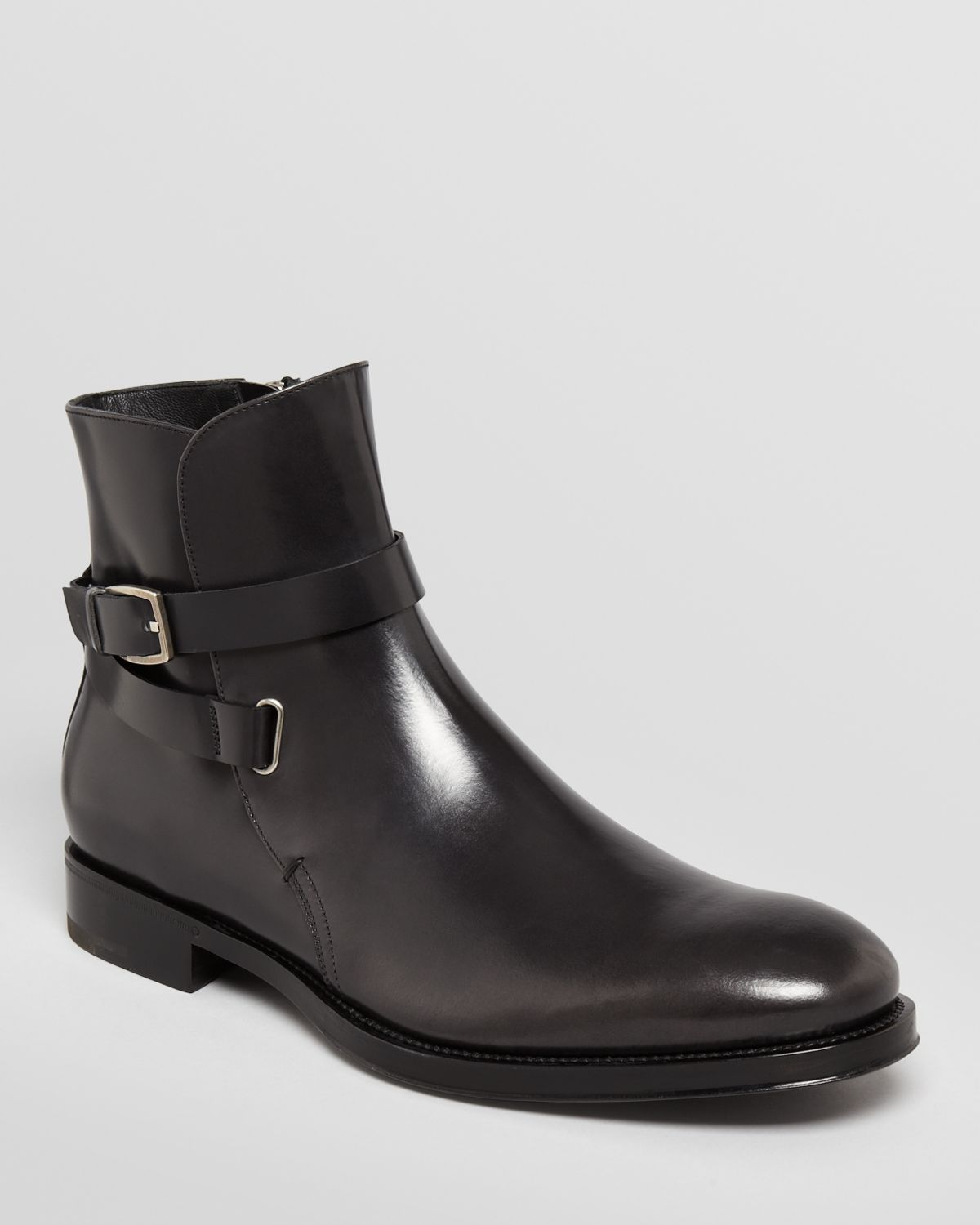 ferragamo saverio buckle leather boots in black for lyst