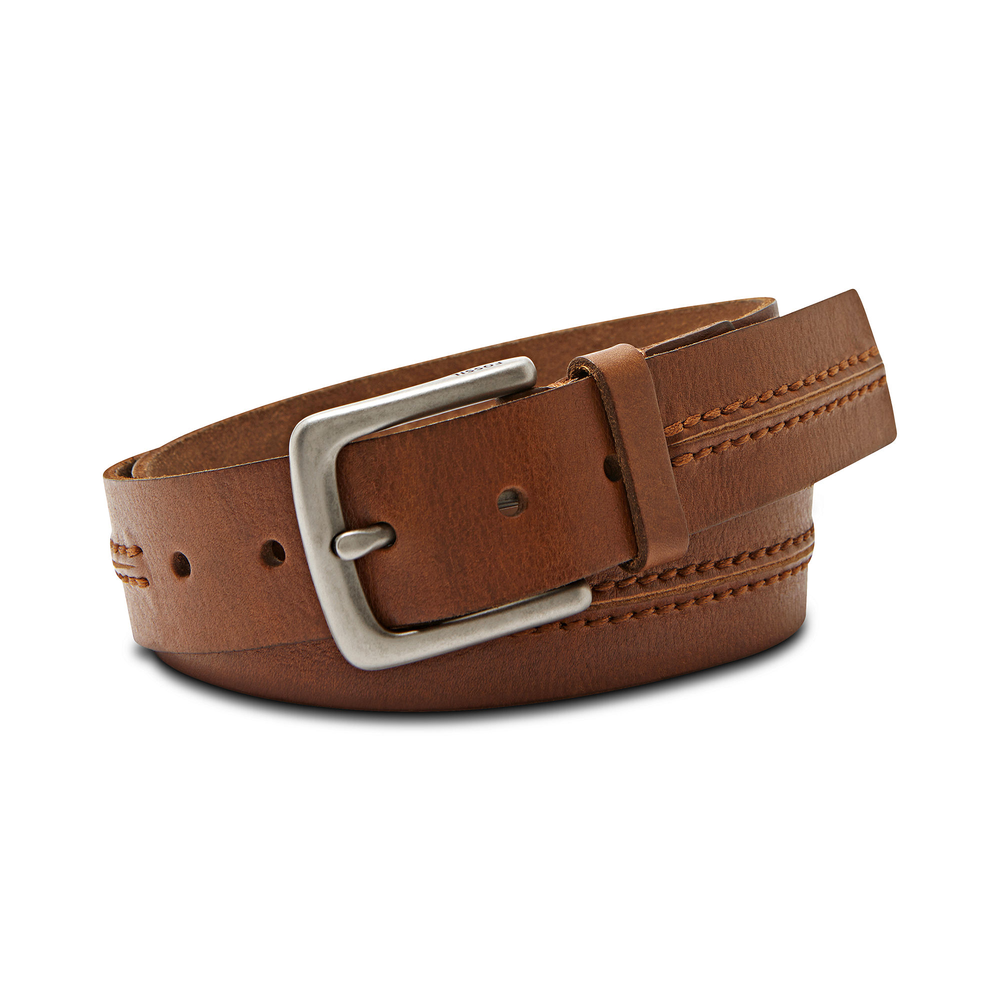 fossil theo casual leather belt in brown for lyst