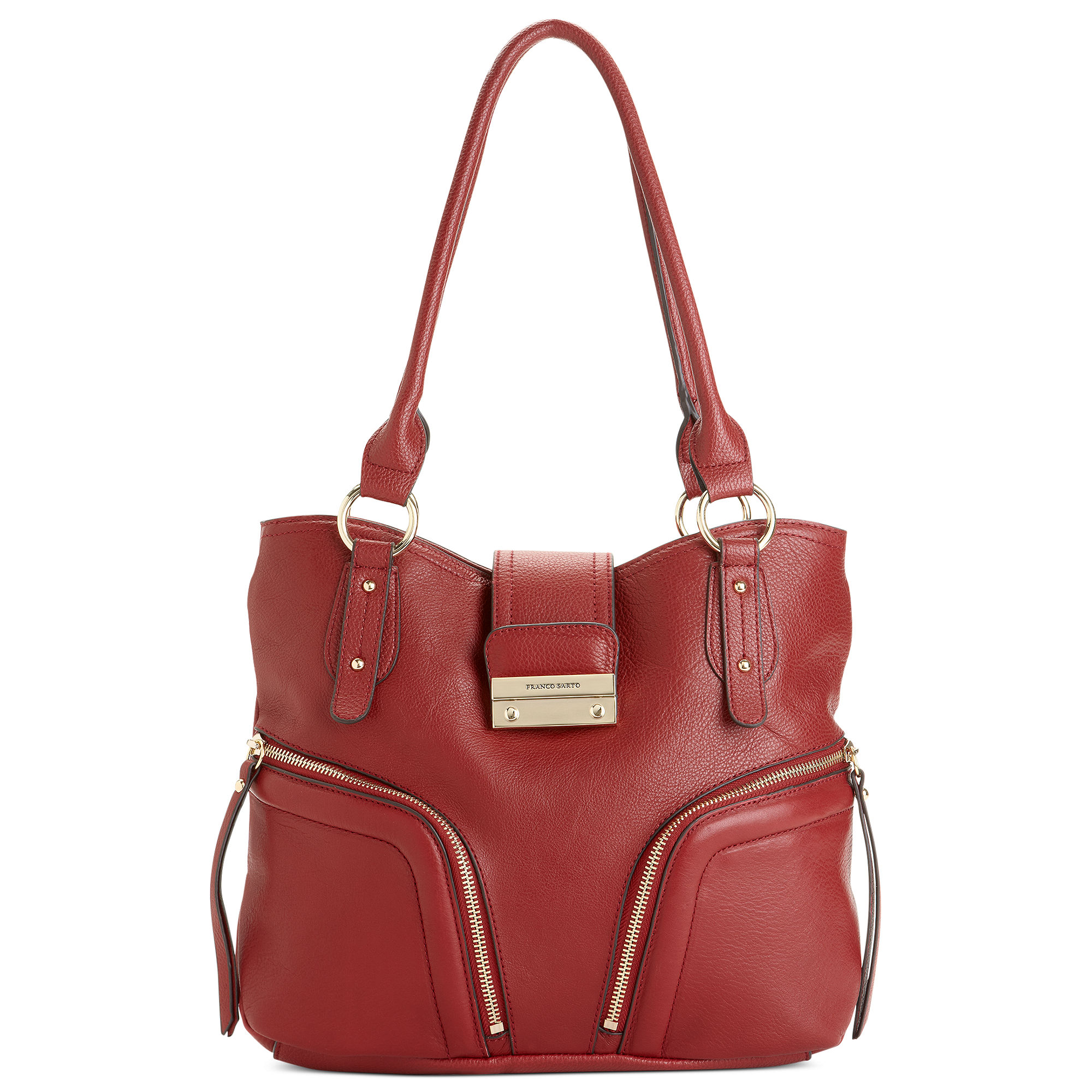 franco sarto clara leather tote in brown lyst
