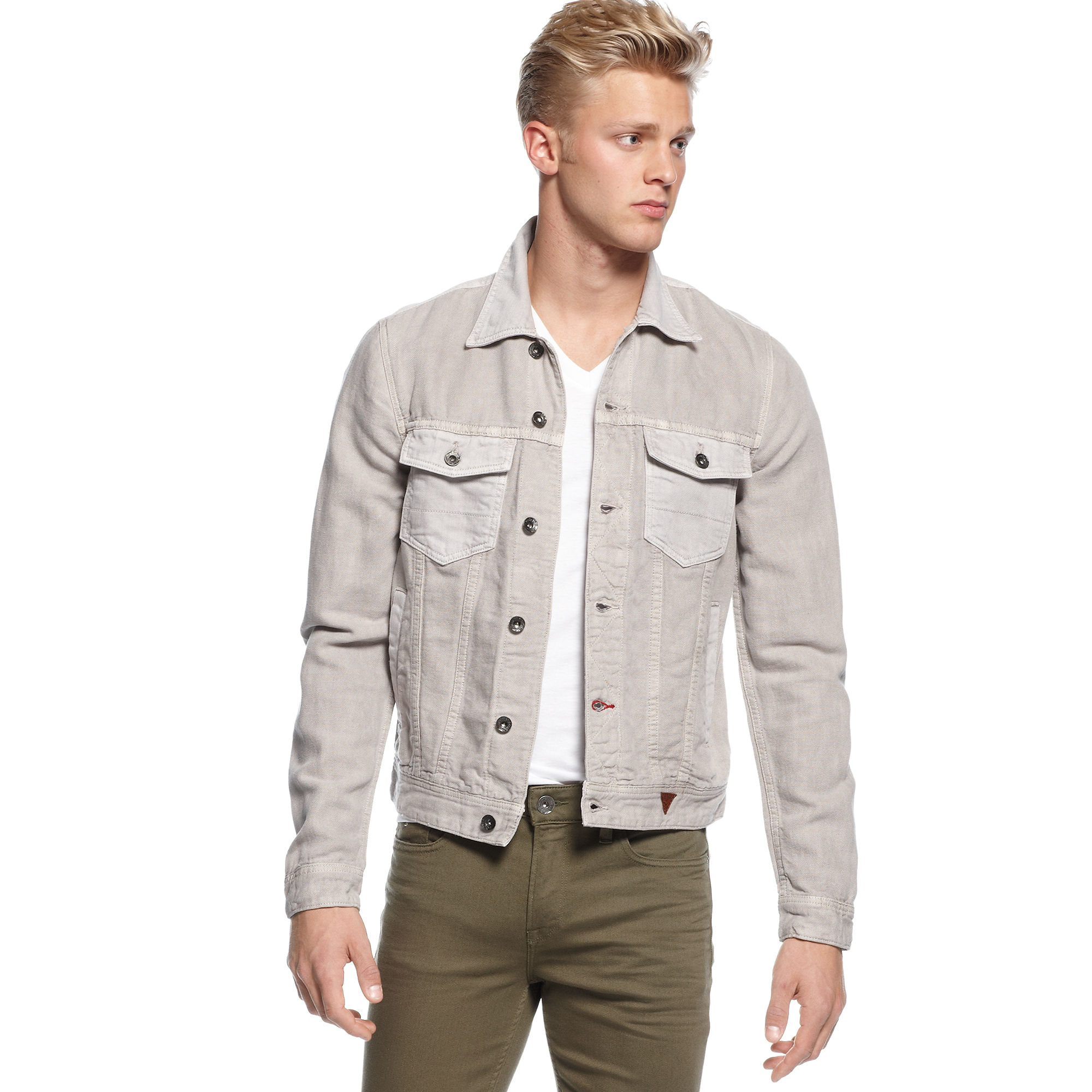 Guess Jeans Jacket Buttonfront Denim Arachno Wash in Gray ...