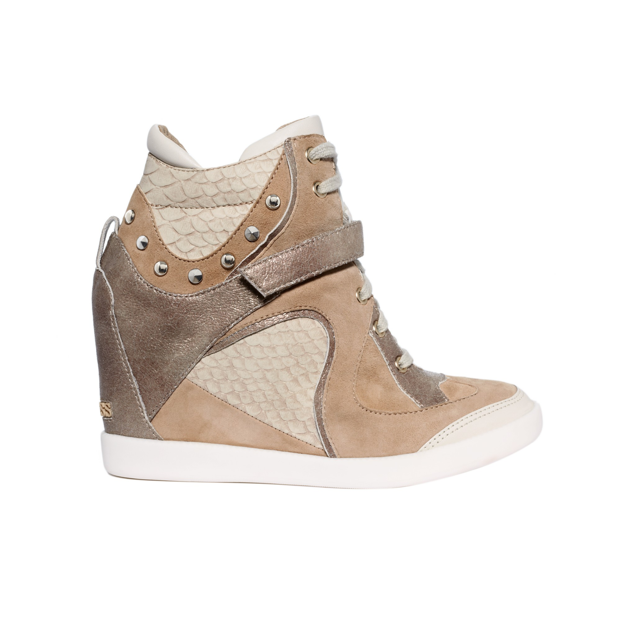 lyst guess huxley wedge sneakers in brown