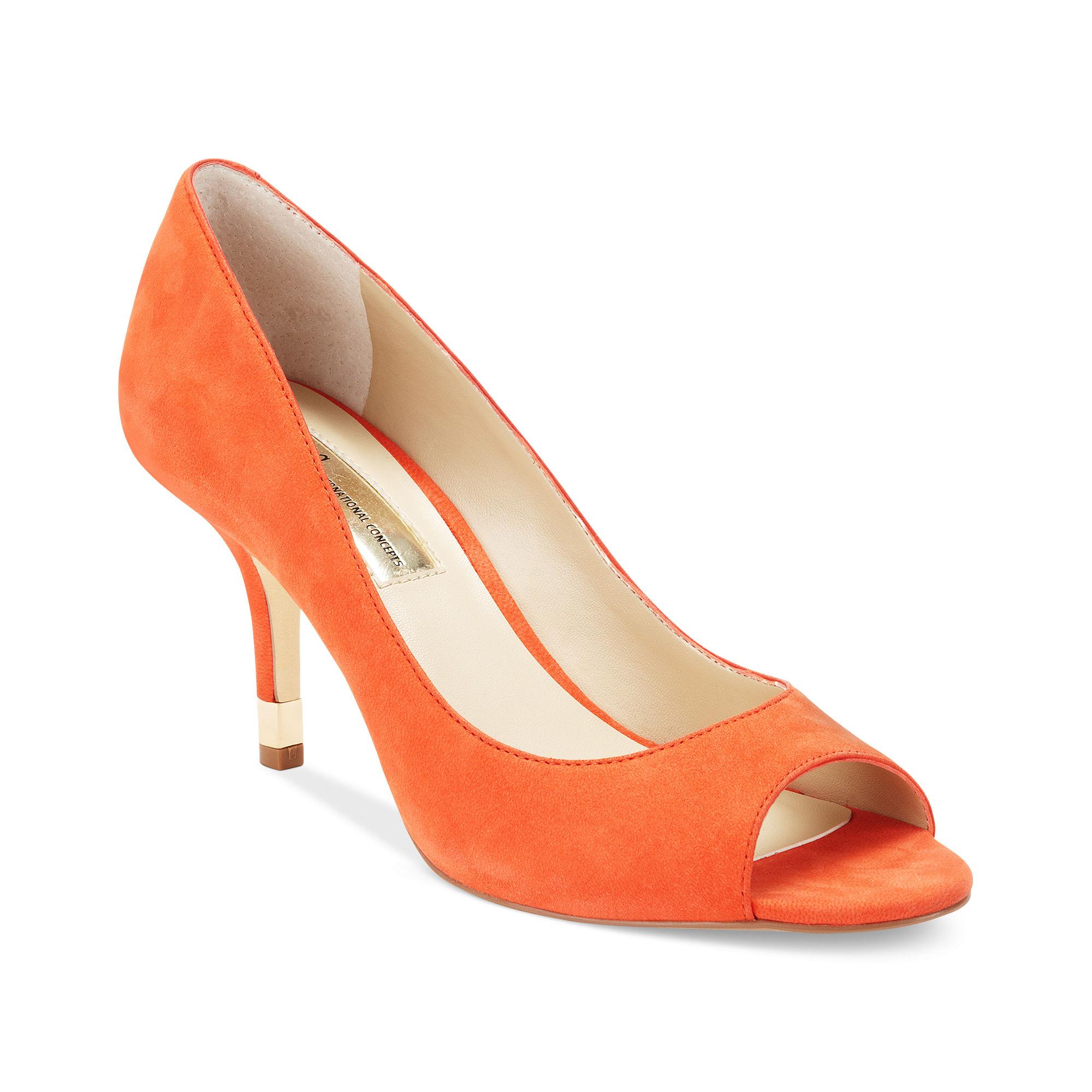 Orange Leather Court Shoes