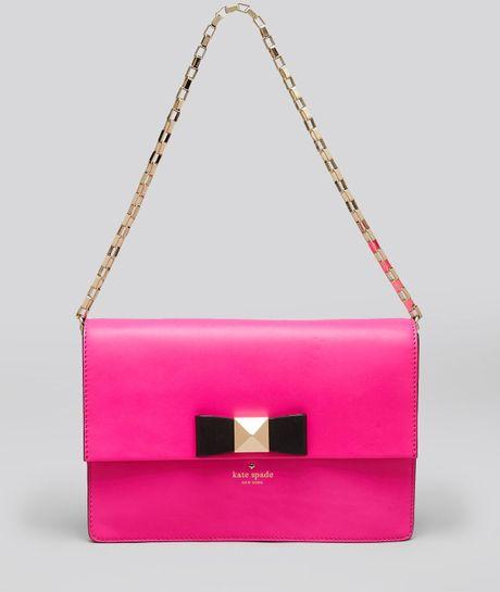 Kate spade shoulder bag bow terrace brie in pink black lyst