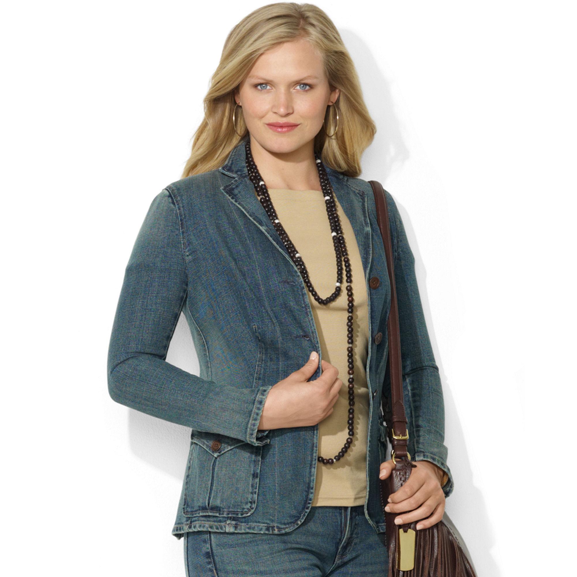 3eab51d55a1 Lyst - Lauren by Ralph Lauren Lauren Jeans Co Plus Size Jacket Denim ...