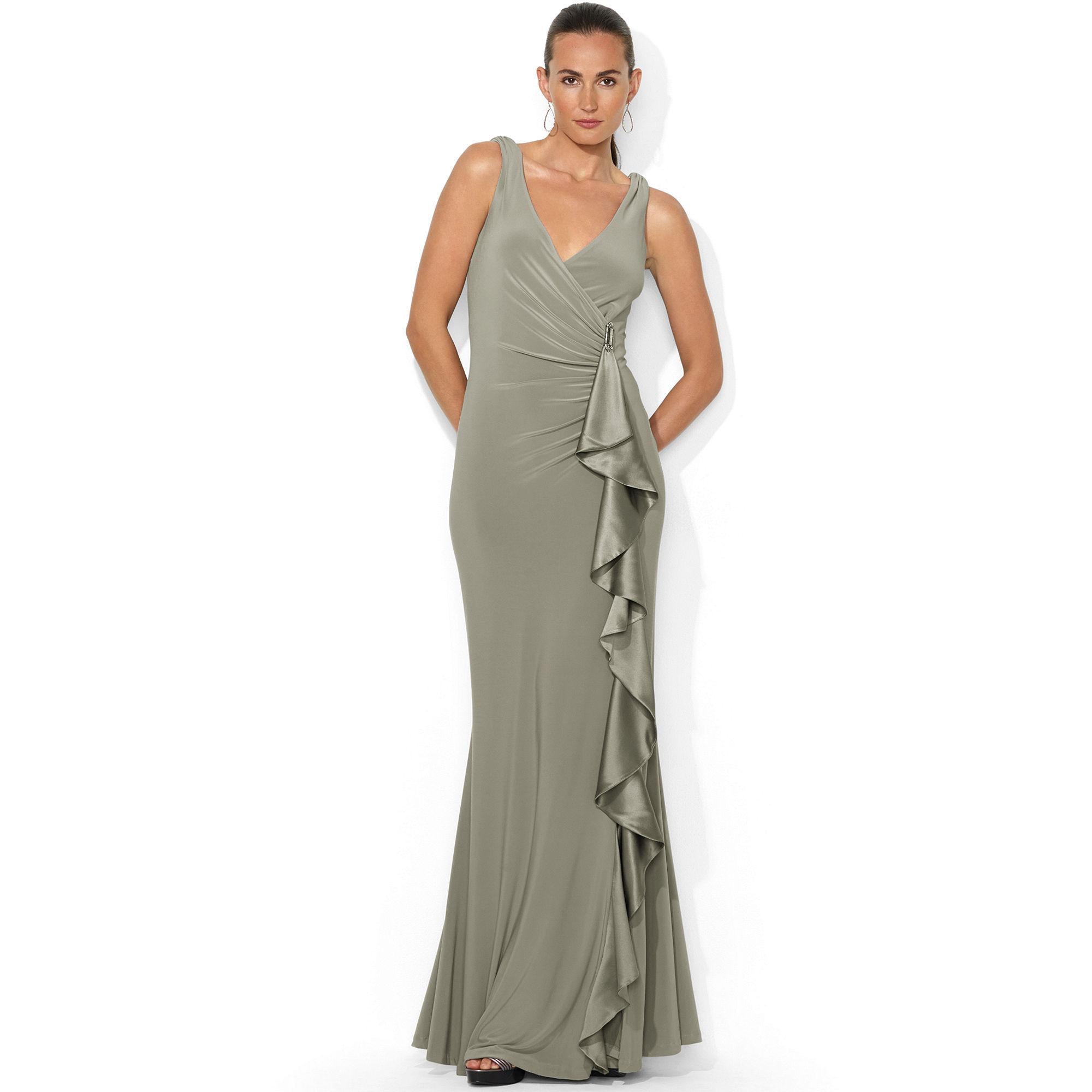 24b04289b6948 Lyst - Lauren by Ralph Lauren Sleeveless Ruched Ruffled Gown in Gray