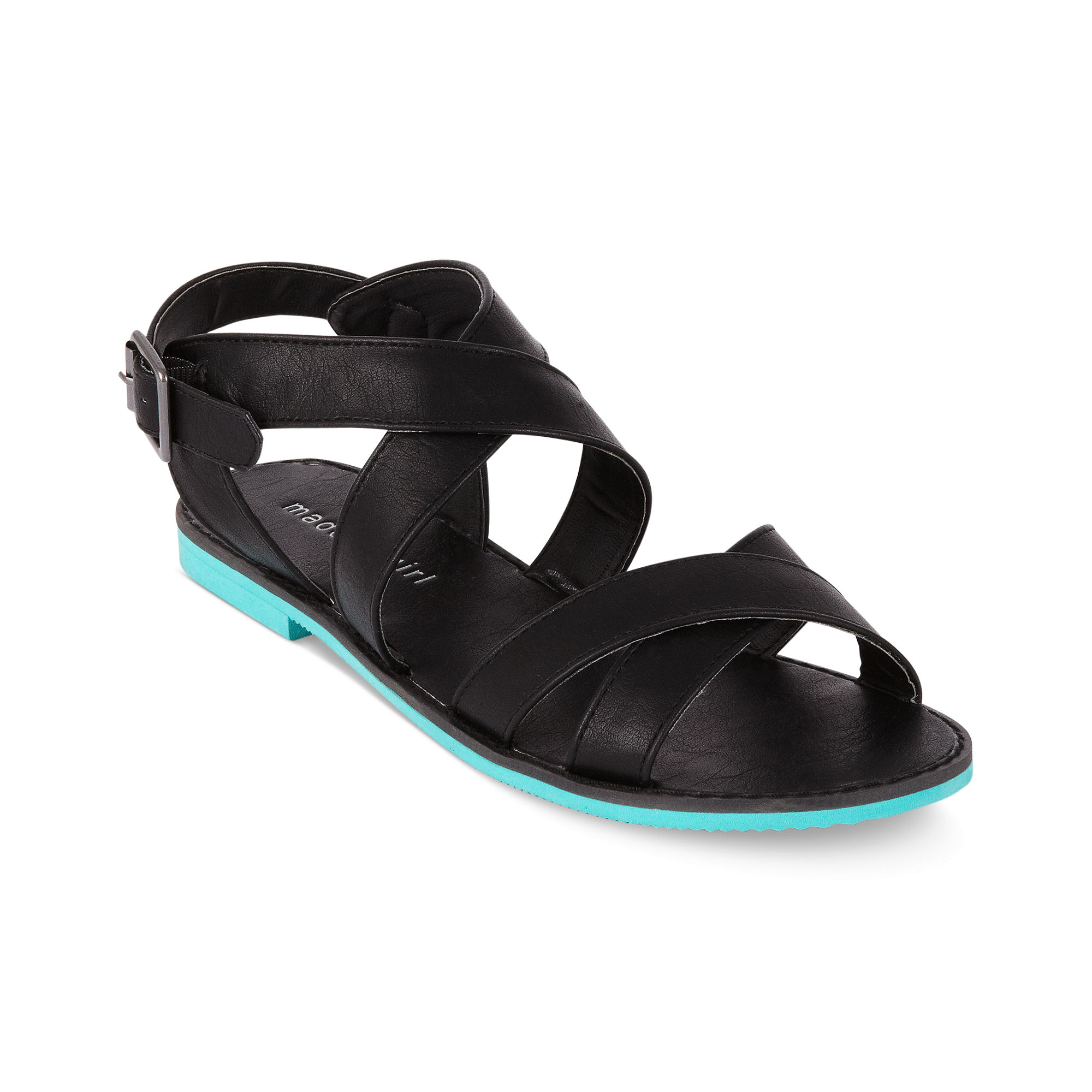Flat Strappy Black Shoes