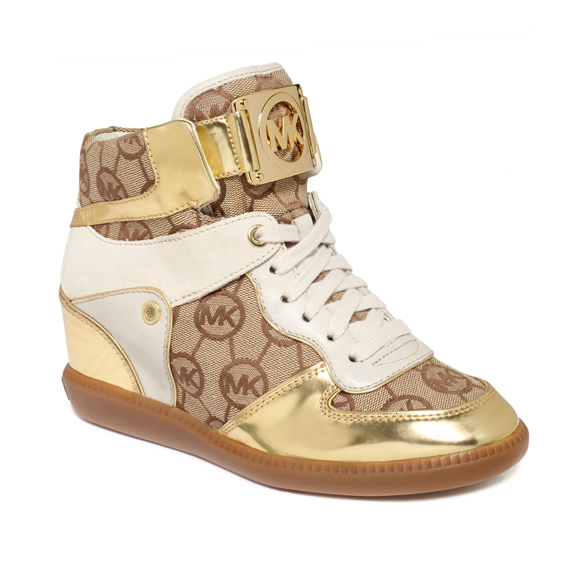 lyst michael kors nikko high top wedge sneakers in metallic. Black Bedroom Furniture Sets. Home Design Ideas
