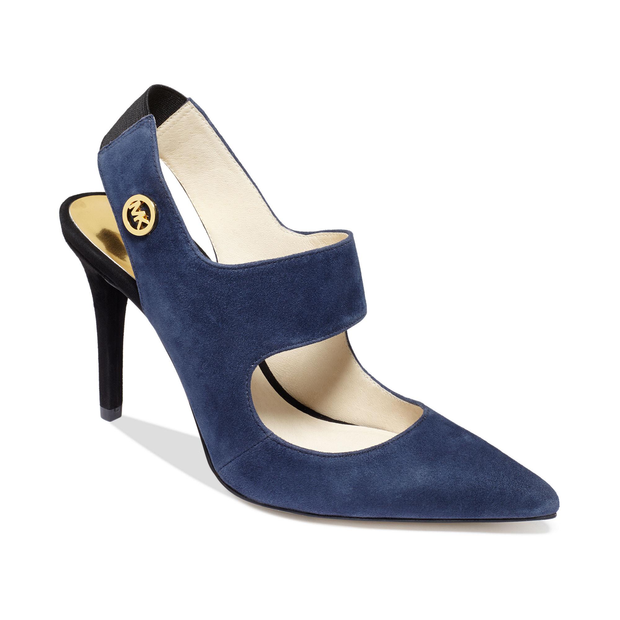 f4a0c9b047e ... Lyst Michael Kors Sivian Sling Mid Heel Pumps in Blue