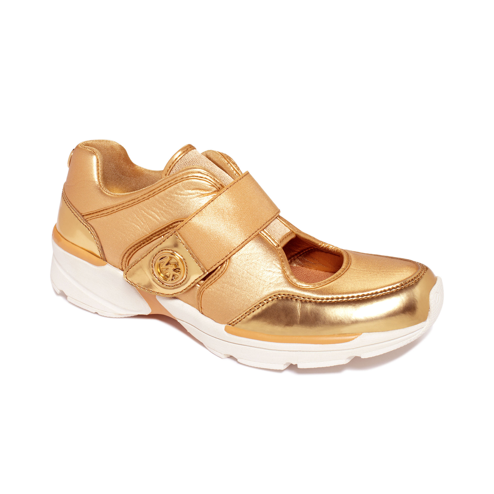 michael kors walker sneakers in gold lyst. Black Bedroom Furniture Sets. Home Design Ideas