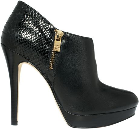 michael kors york ankle boots in black grey suede lyst