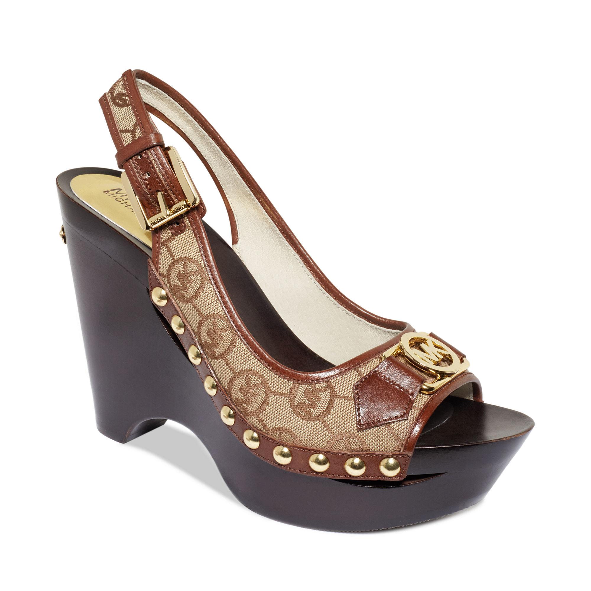 Michael Kors Charm Platform Wedge Sandals In Brown Dark