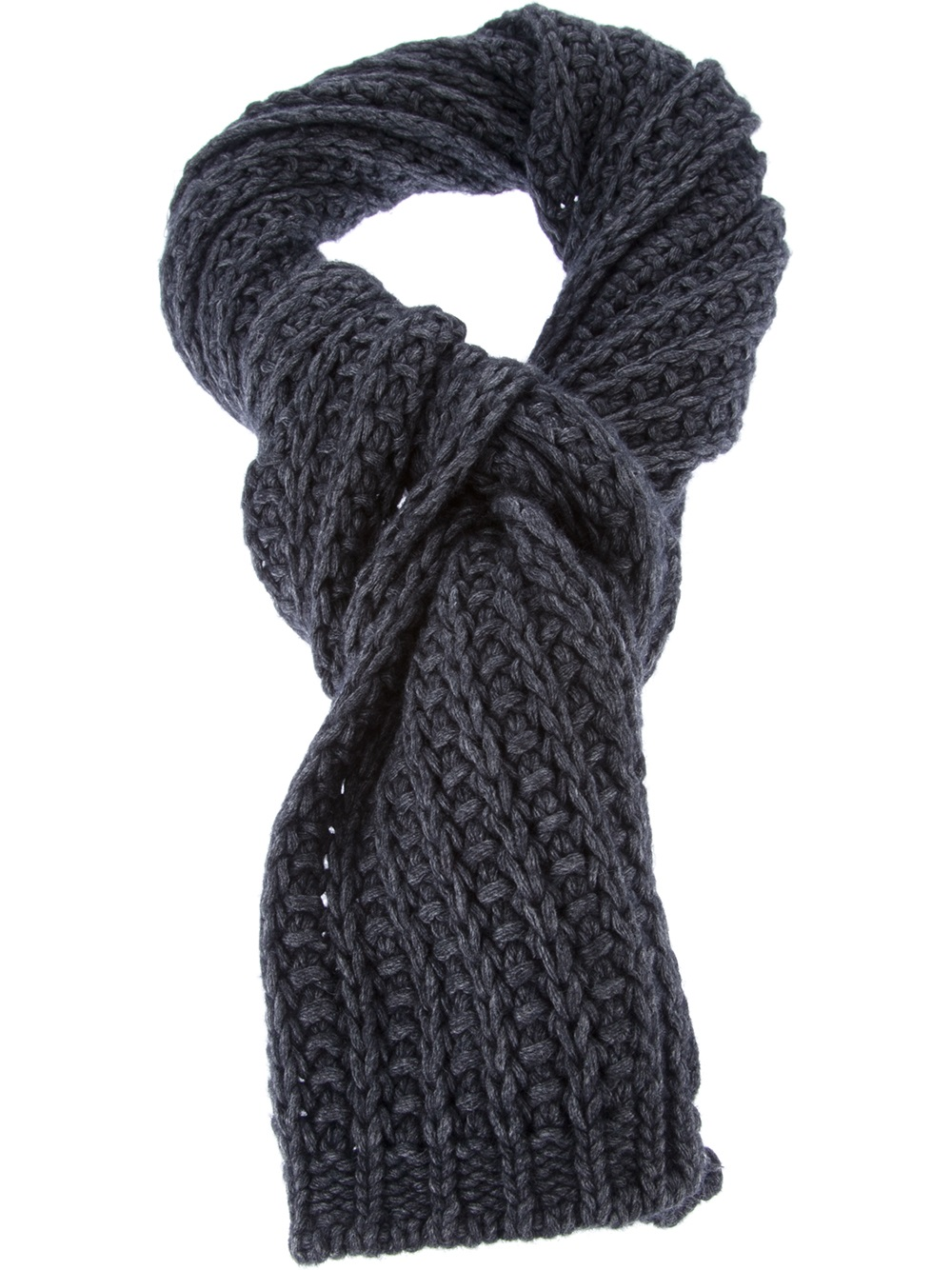 Knitting Chunky Scarf : Lyst moncler chunky knit scarf in gray