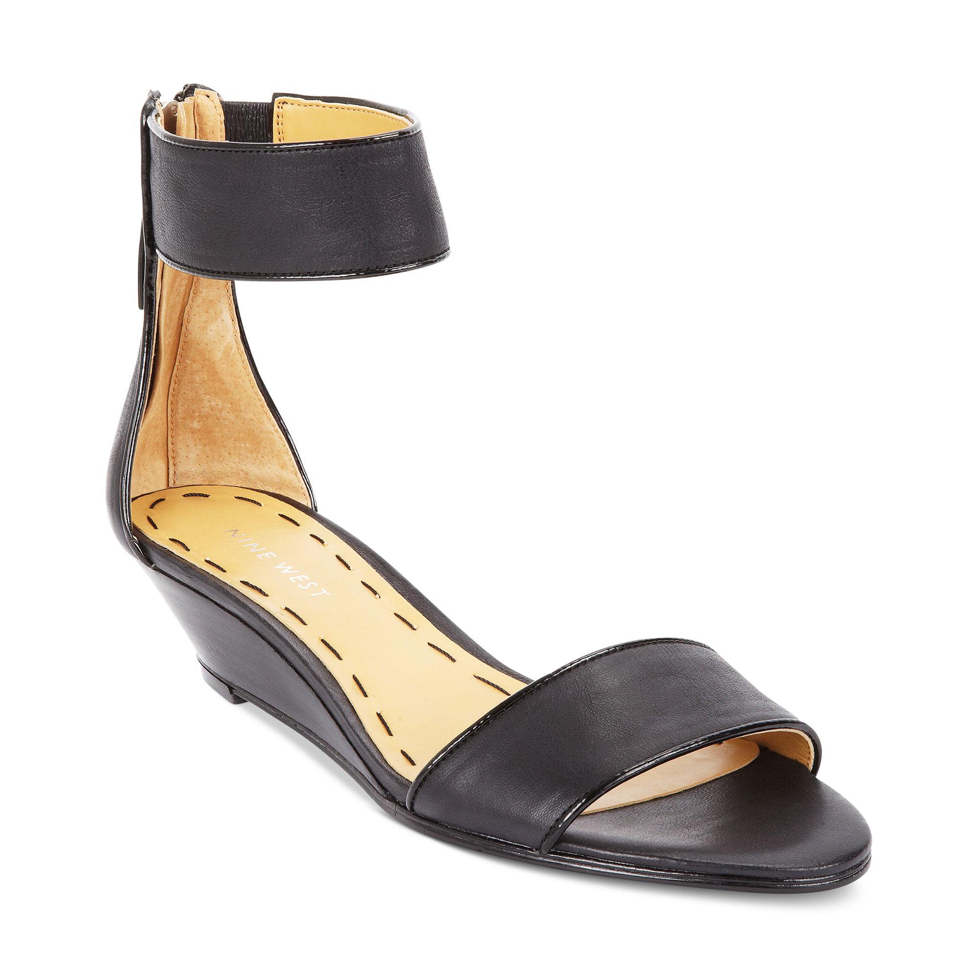 Nine West Vilta Demi Wedge Sandals in Black (black/black ...
