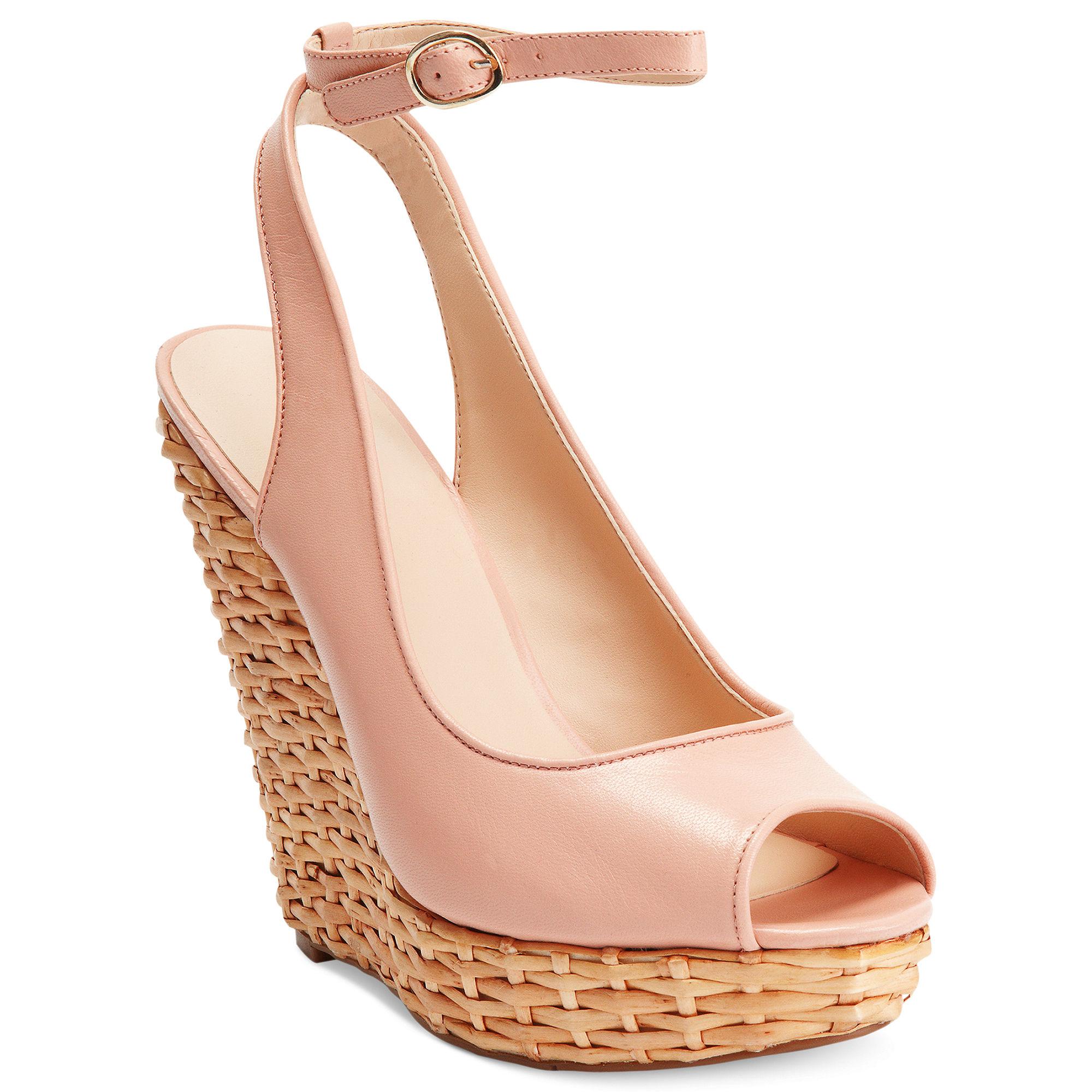 nine west karmic platform wedge sandals in pink light