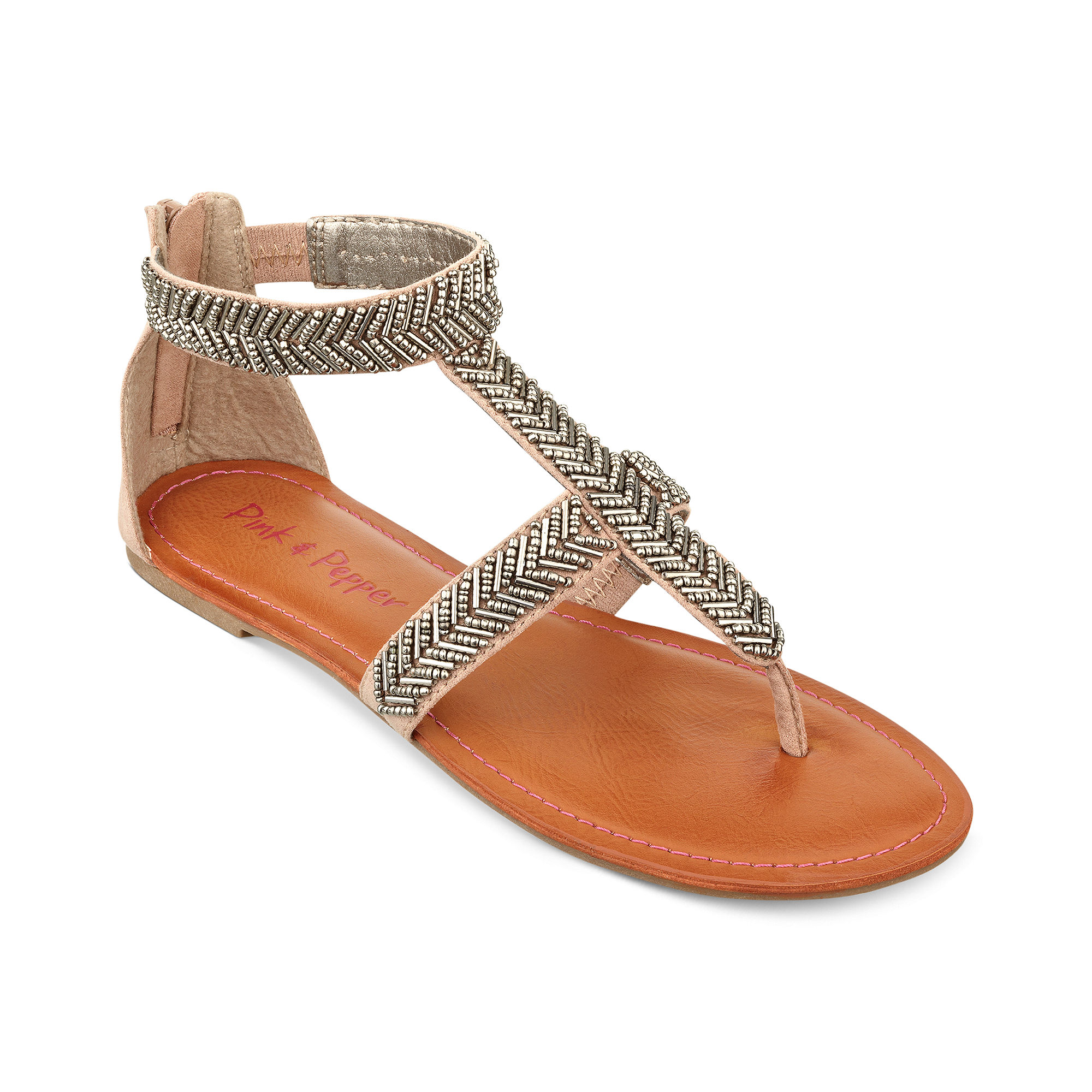 Pink And Pepper Sailor Flat Thong Sandals In Brown Taupe