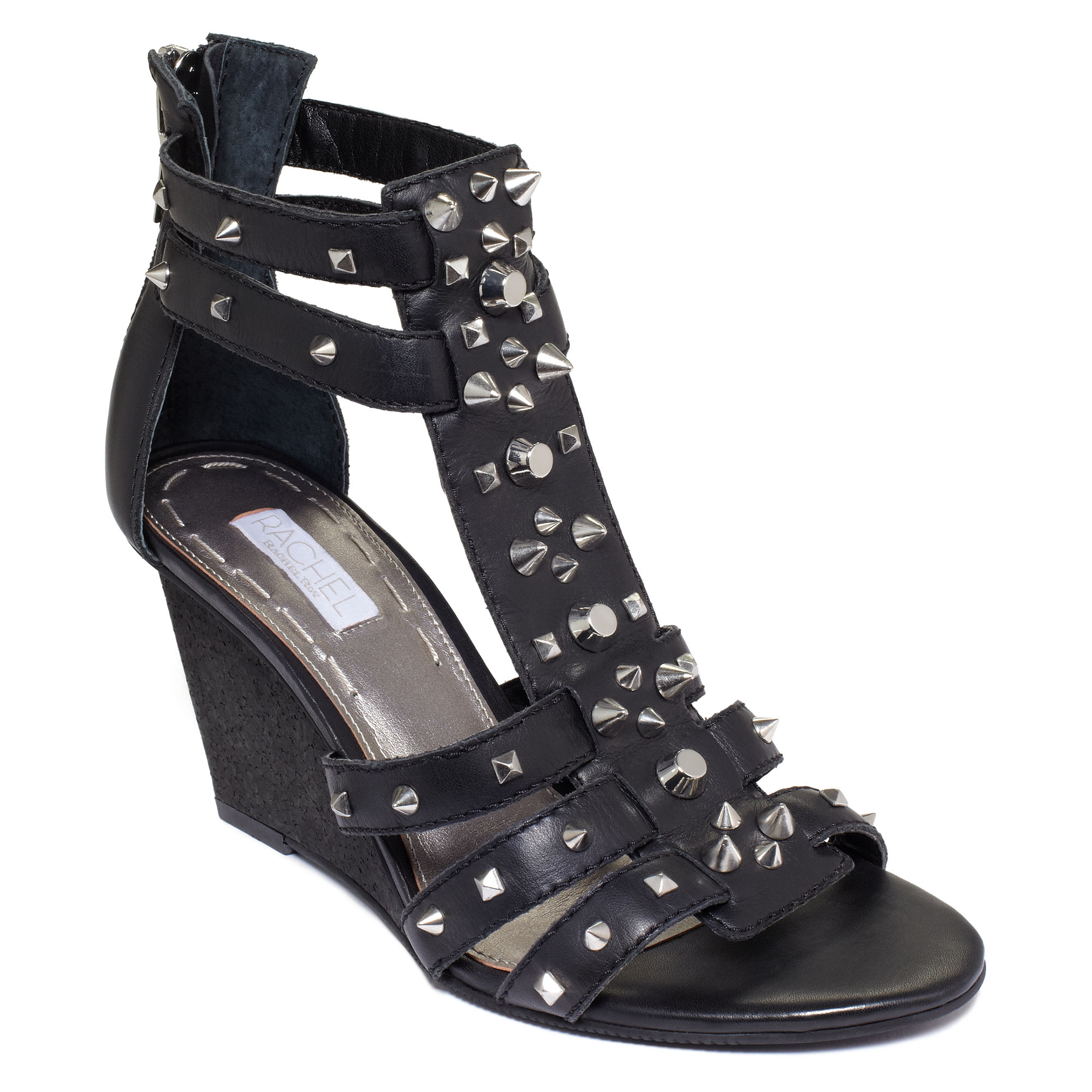 roy ollysa wedge gladiator sandals in black