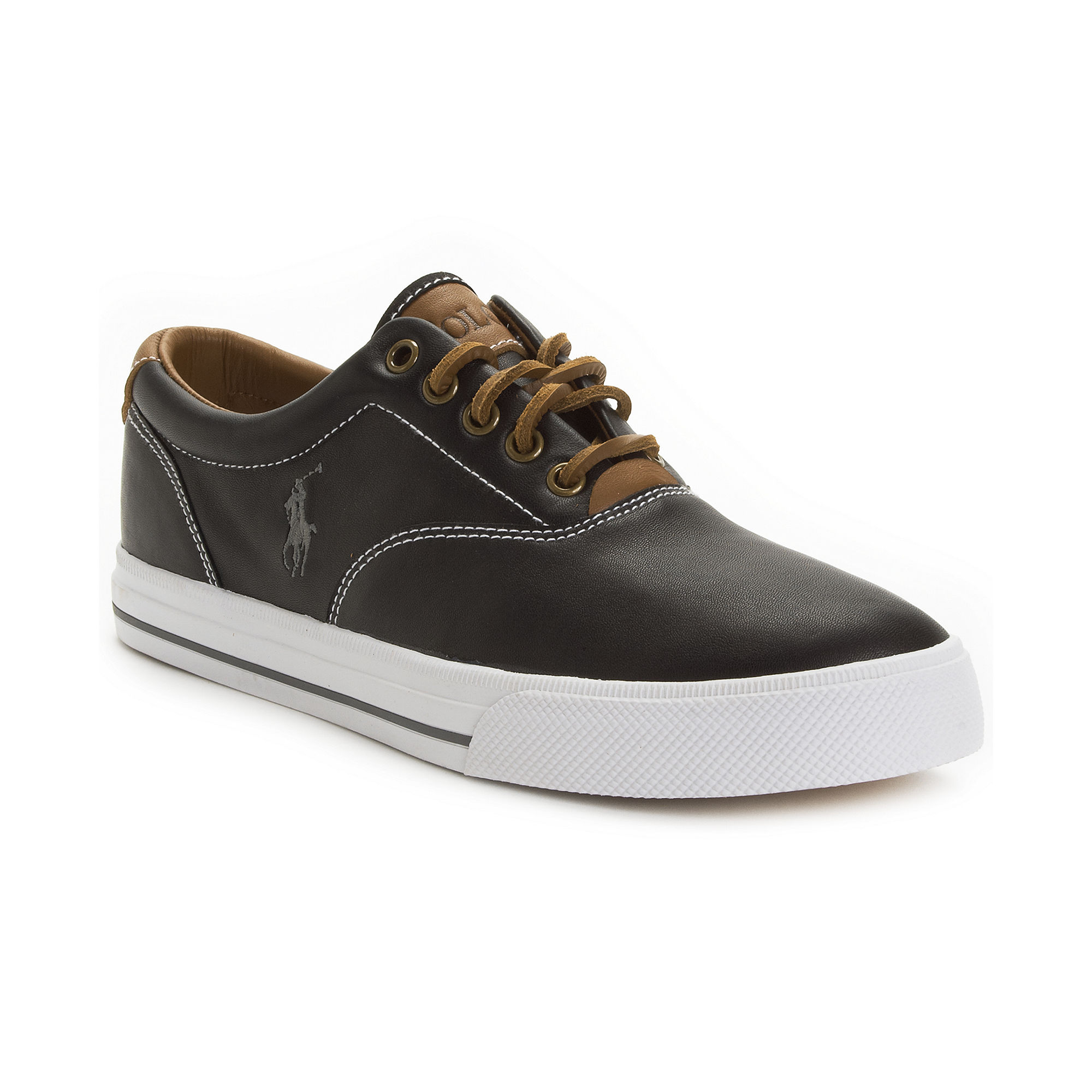 polo ralph lauren vaughn leather sneakers in gray for men grey lyst. Black Bedroom Furniture Sets. Home Design Ideas