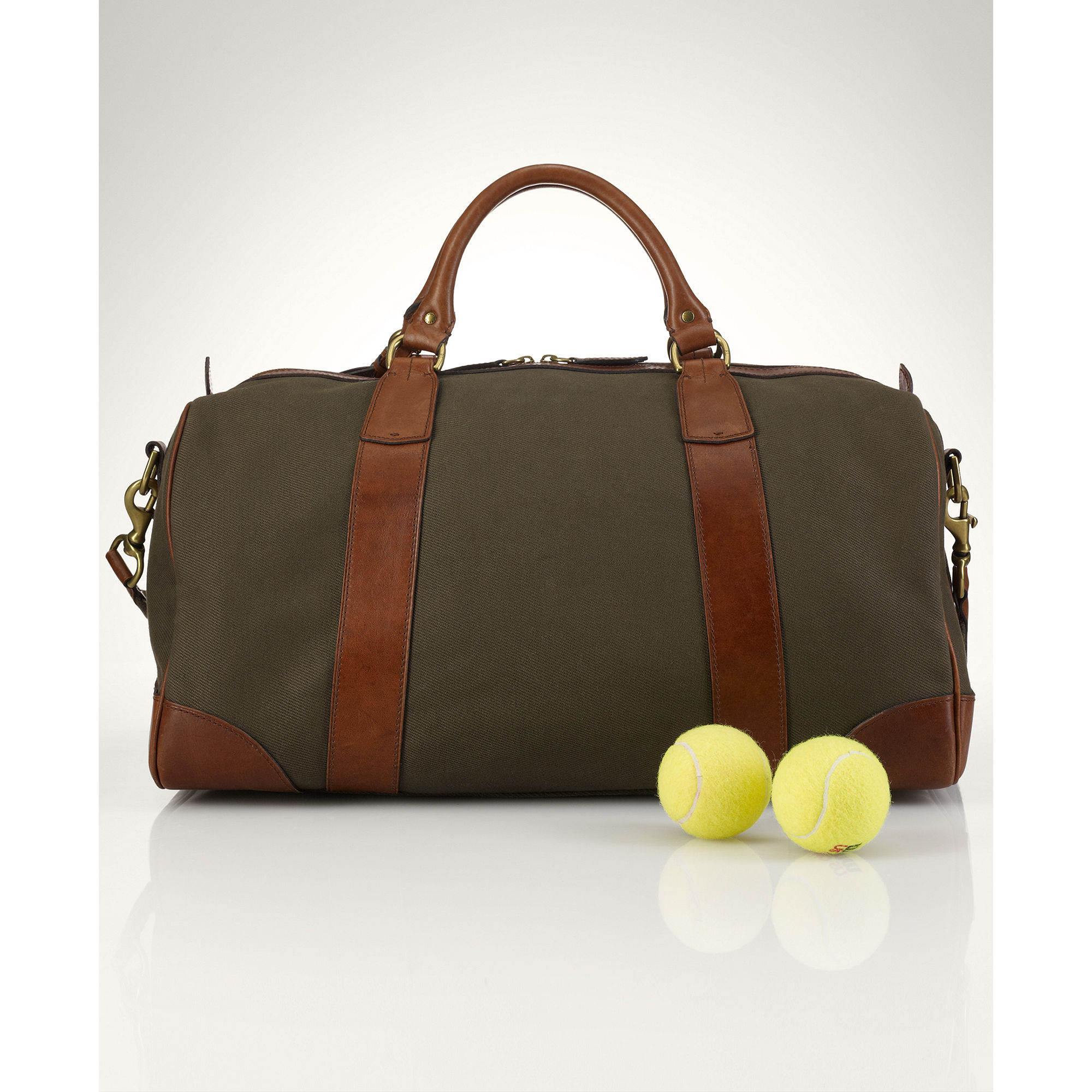 Polo Ralph Lauren Canvas & Leather Gym Bag in Green for ...
