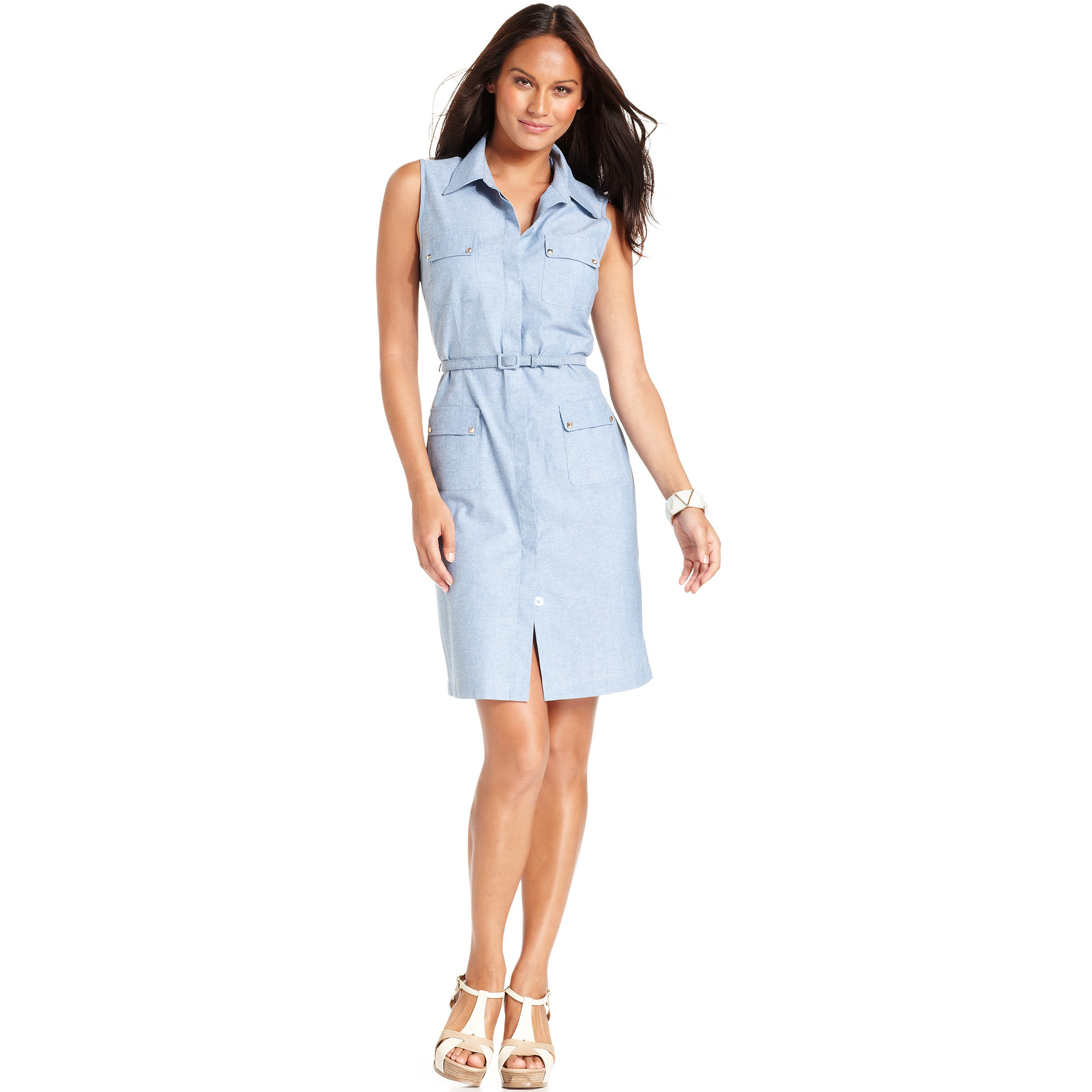 Sleeveless Chambray