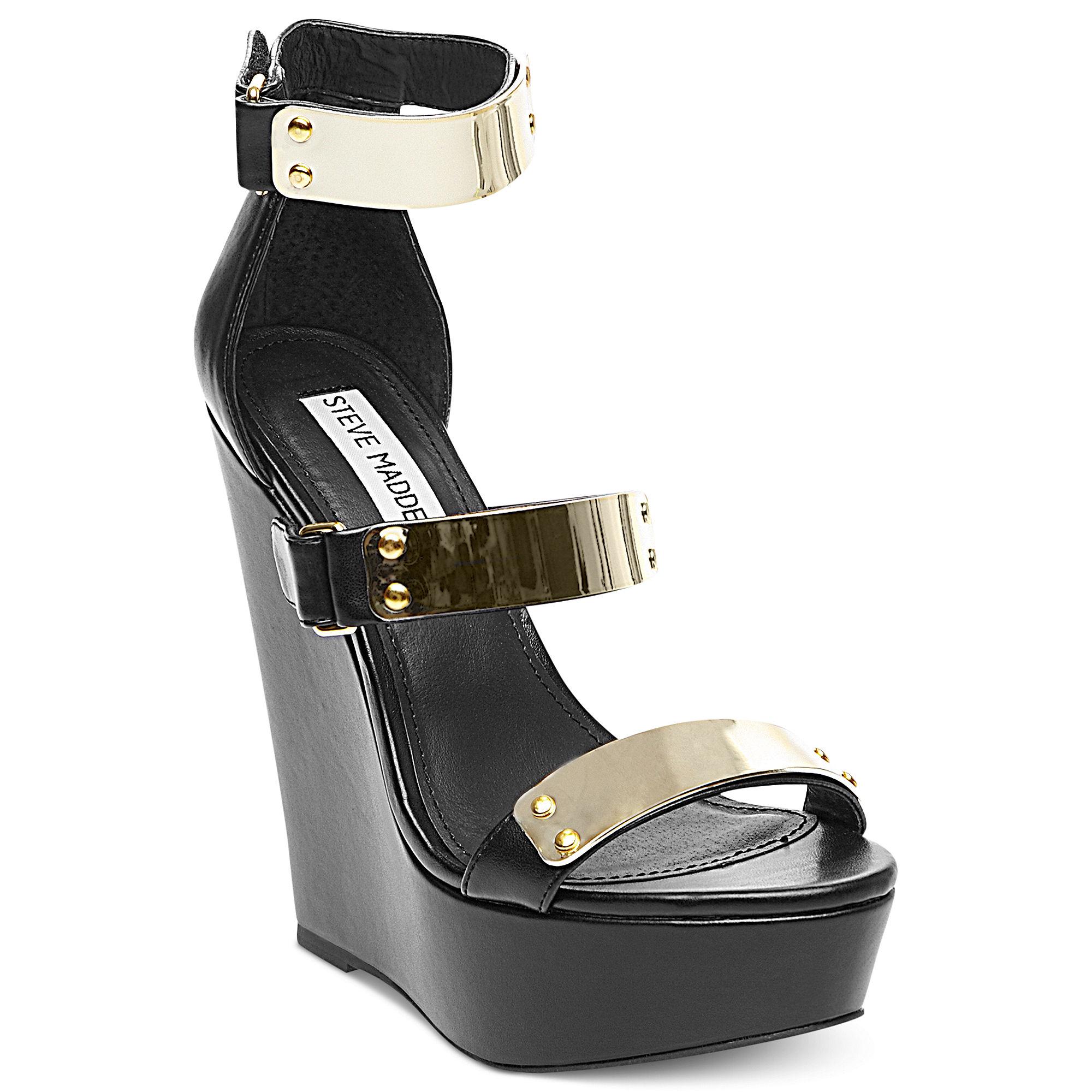 steve madden whitneyy platform wedge sandals in black lyst