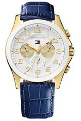 Tommy Hilfiger Womens Navy Crocembossed Leather Strap 41mm - Lyst