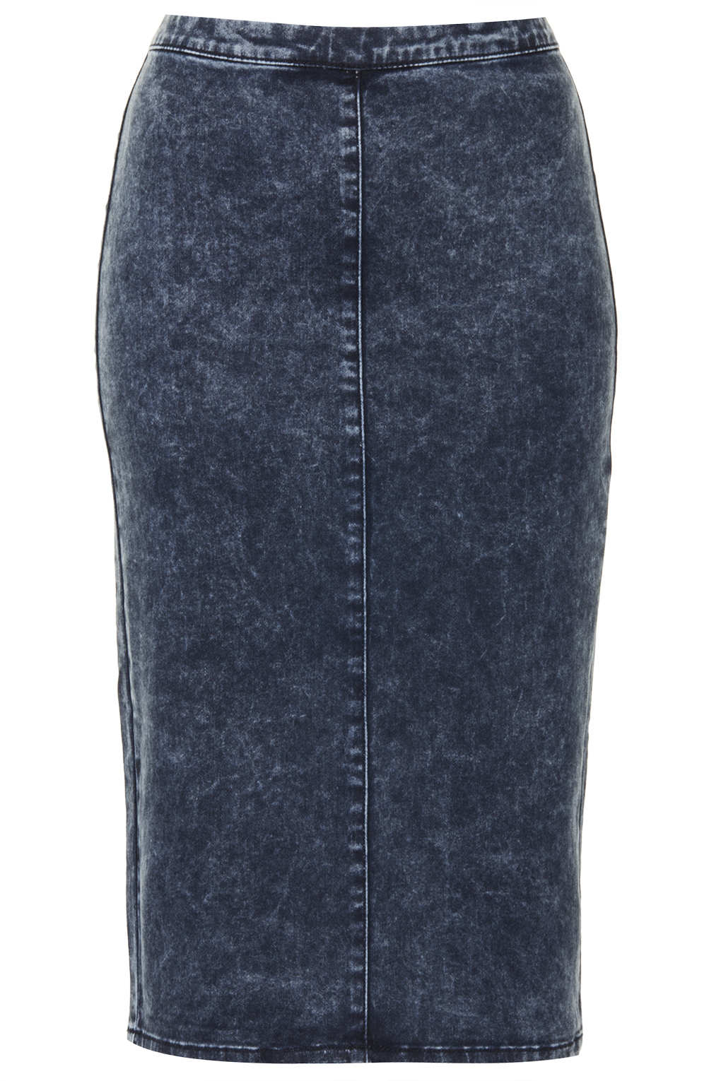 topshop moto vintage acid denim midi skirt in blue mid