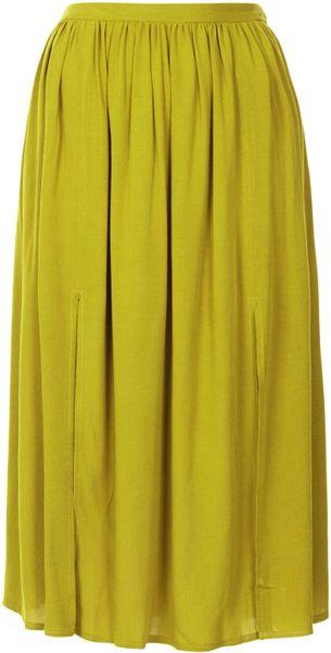 topshop olive split midi skirt in green olive lyst