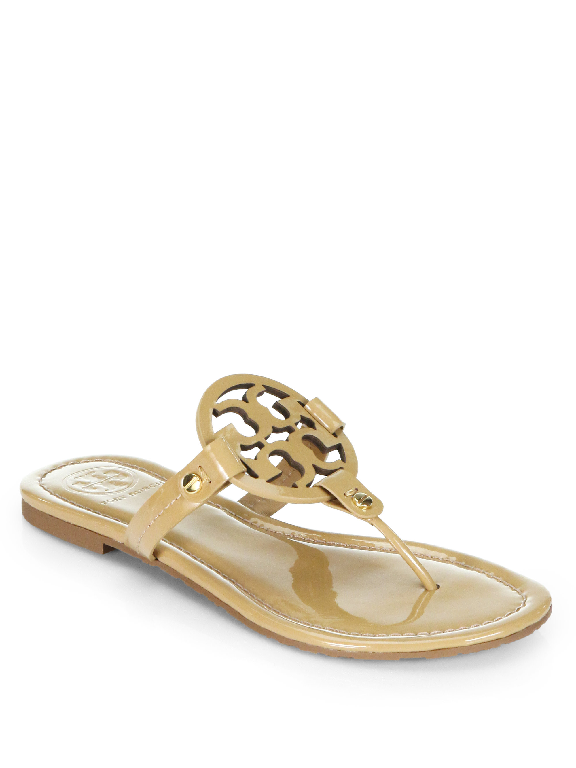 4724167767bf9 Lyst - Tory Burch Miller Patent Leather Thong Sandals in Natural