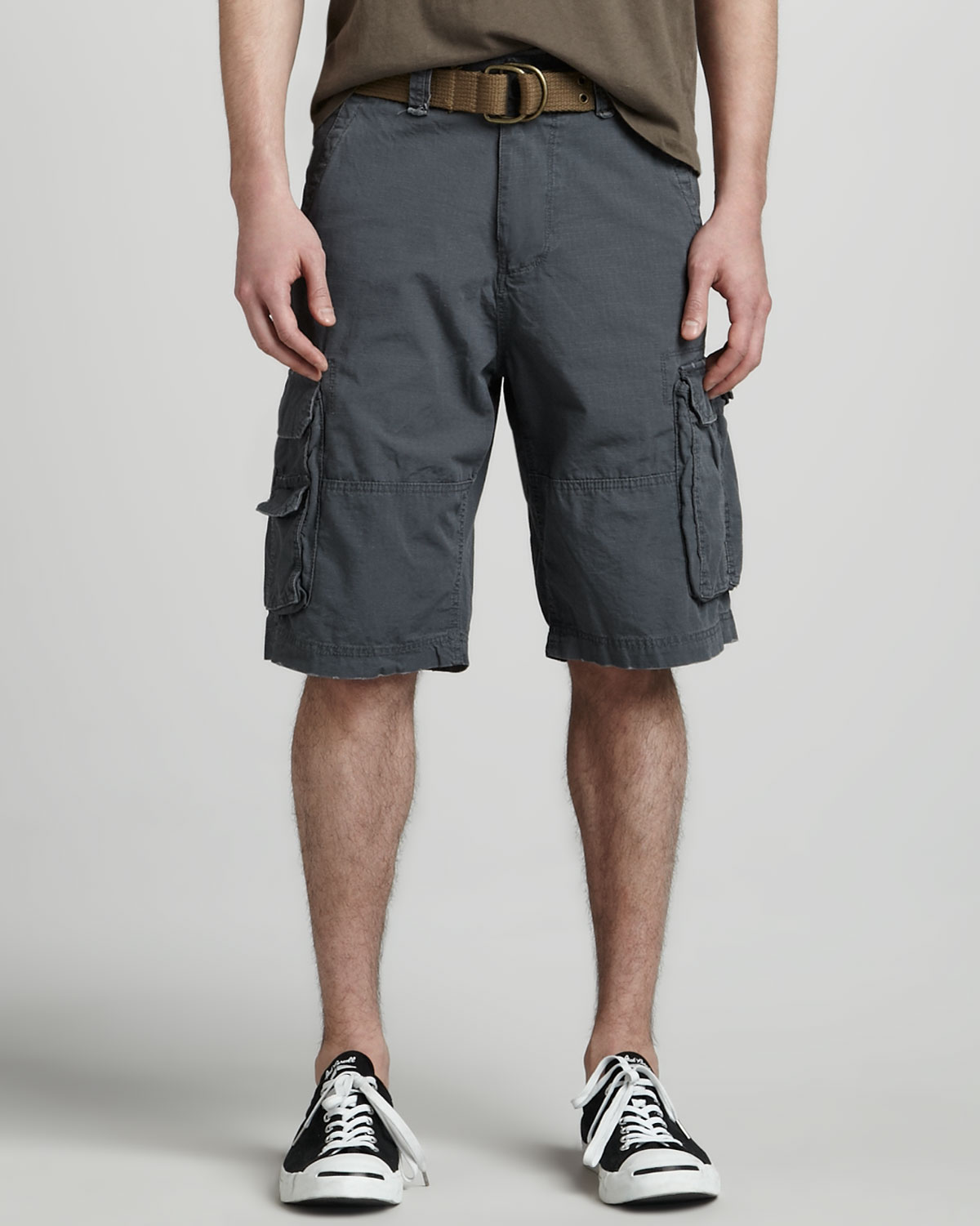 W.r.k. Ripstop Belted Cargo Shorts Gray in Gray for Men | Lyst