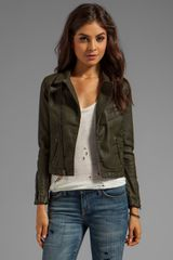 Ag Adriano Goldschmied Biker Coated Jacket in Dark Green - Lyst