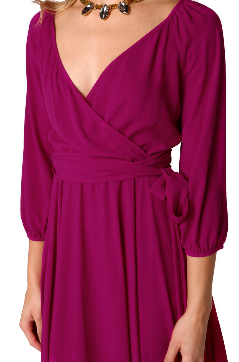 Akira Black Label Long Sleeve Wrap Maxi Dress In Purple Lyst