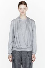 Alexander Wang Heather Grey Jersey Draped Neck Sweatshirt - Lyst