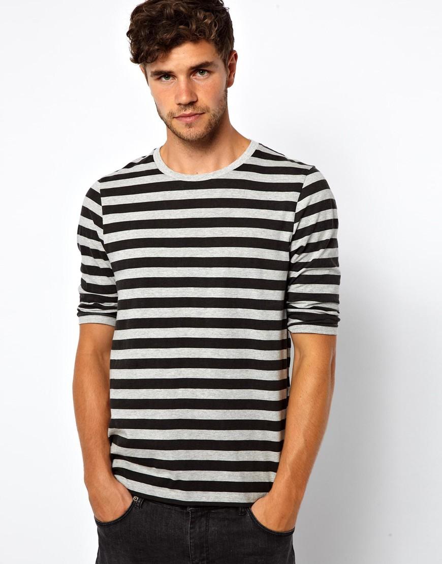 Asos stripe 3 4 sleeve t shirt in gray for men lyst for Best striped t shirt
