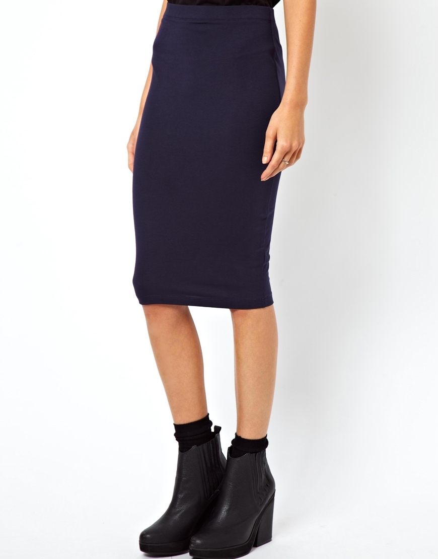 f41014c683 ASOS Pencil Skirt in Jersey in Blue - Lyst