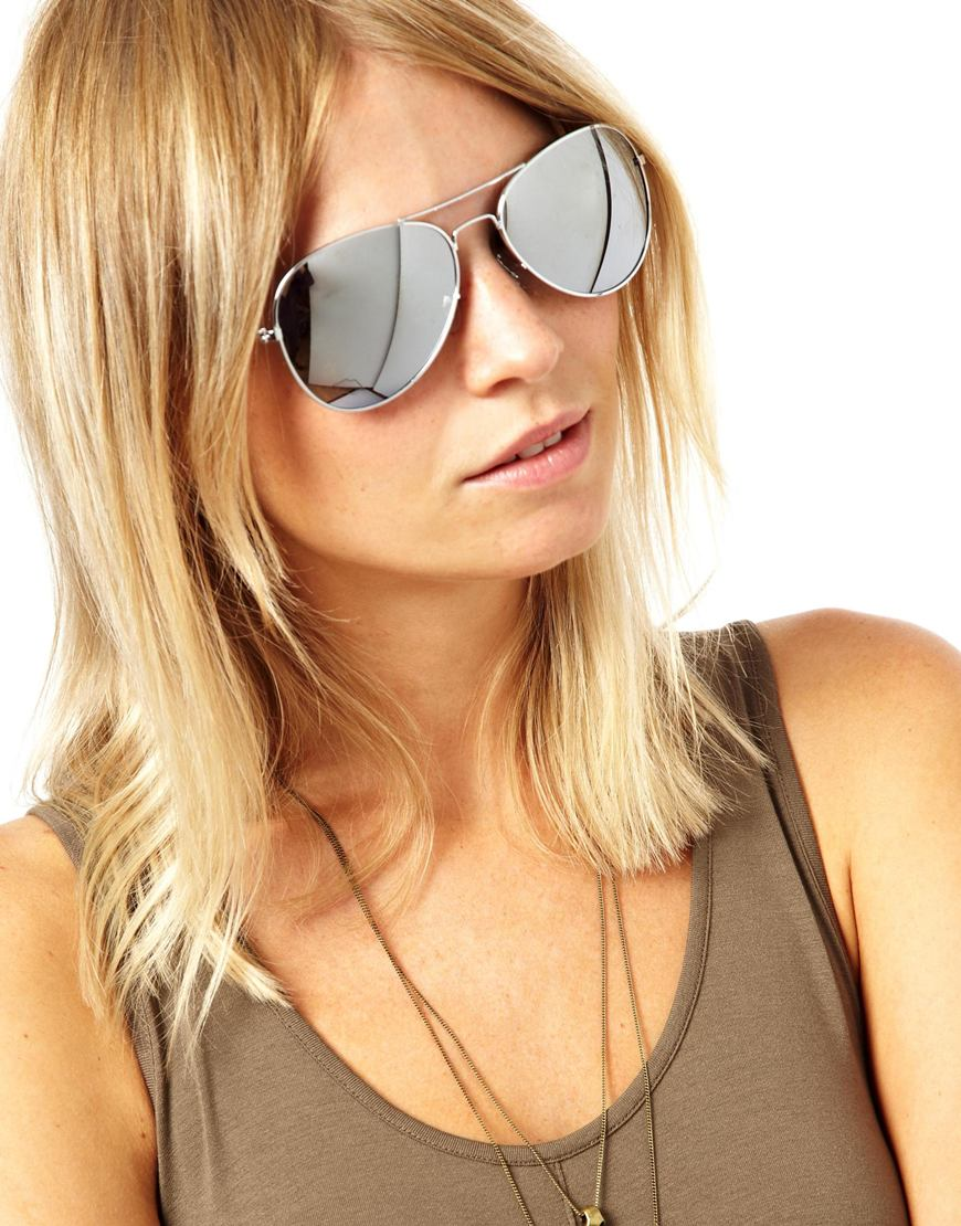 Lyst Asos Asos Silver Aviator Sunglasses With Mirror Lens In Metallic