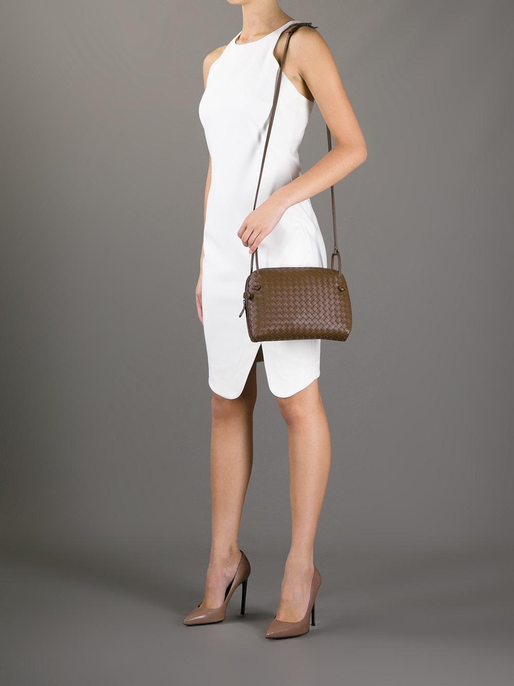 a2813e316532 Lyst - Bottega Veneta Junior Cross Body Bag in Brown