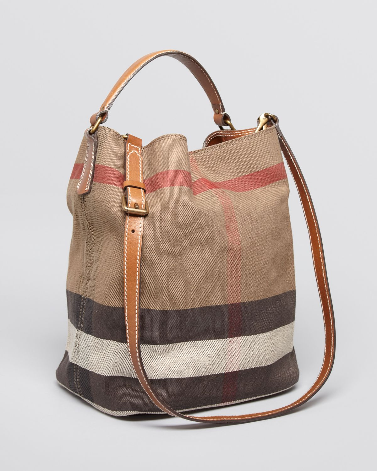 55c99e87d388 Lyst - Burberry Canvas Check Medium Ashby Hobo in Brown
