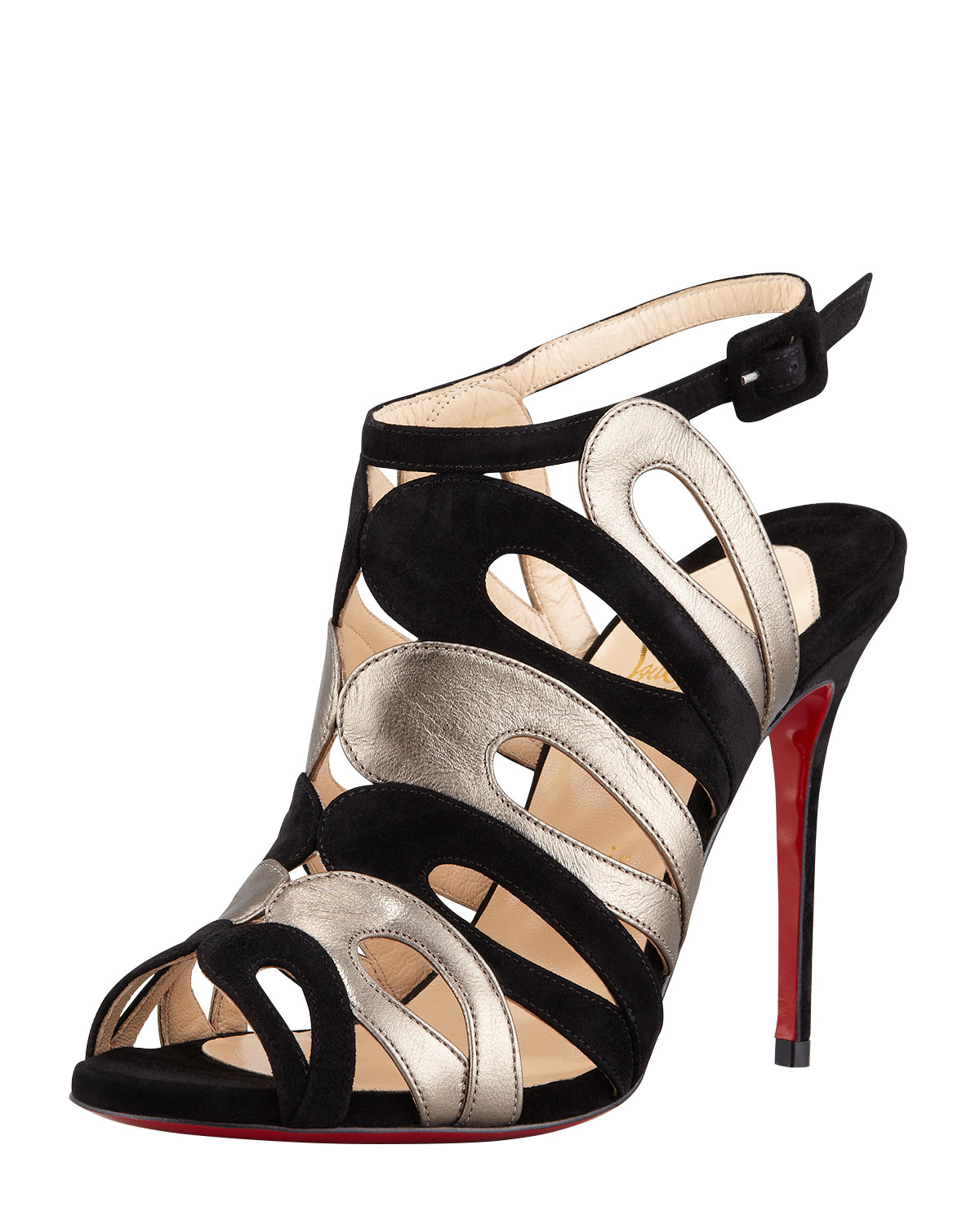 Christian louboutin Cerso Suede metallic Strappy Red Sole Sandal ...