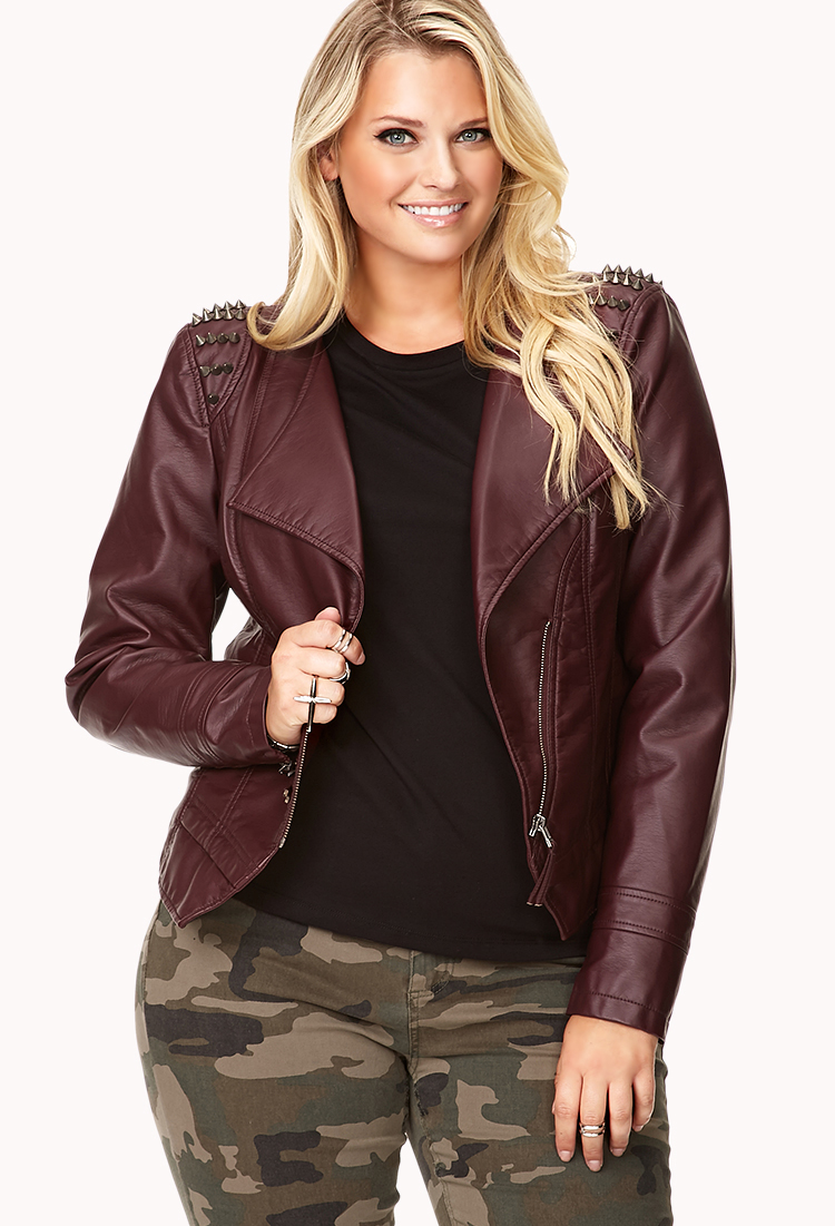 Forever 21 Spiked Moto Jacket in Purple (BURGUNDY/GUNMETAL)