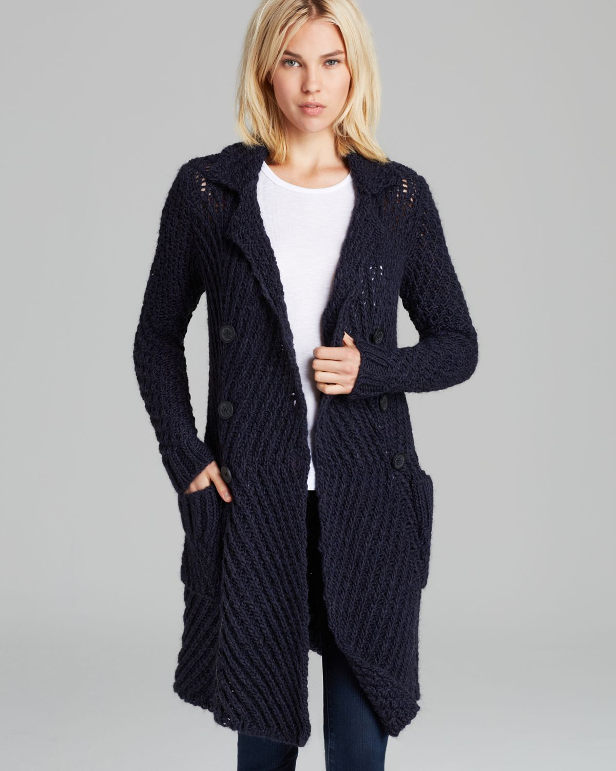 Free people Cardigan Chunky Yarn Buttermilk Biscuit in Blue | Lyst