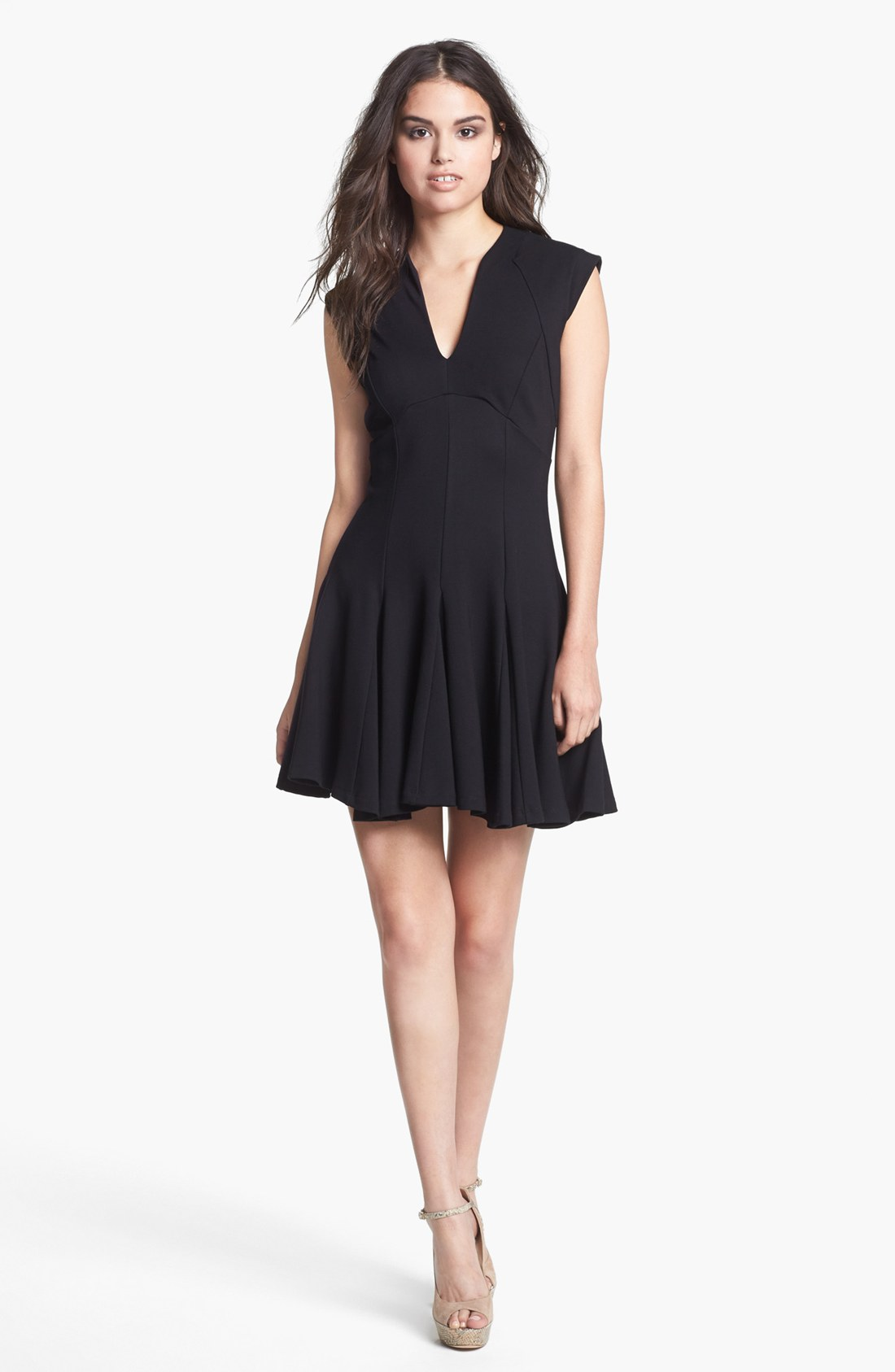 French Connection Marie Ponte Knit Fit Flare Dress In