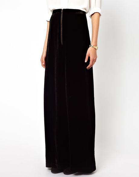 ganni silk mix maxi skirt in black lyst